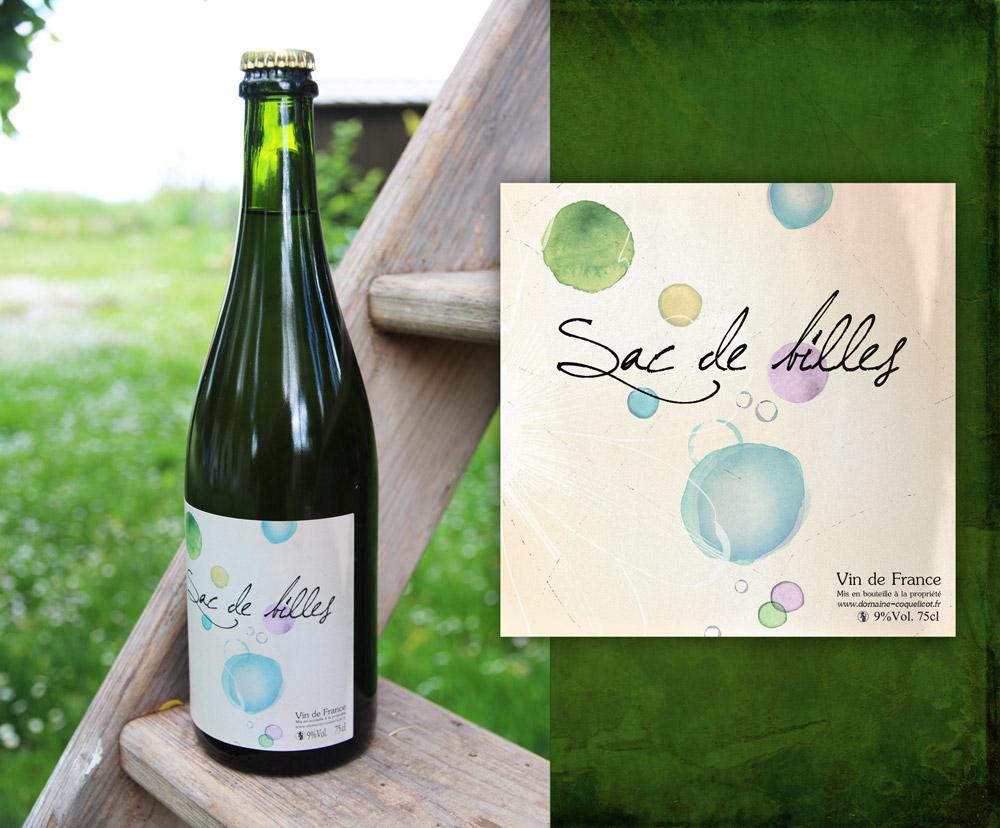 2014 - Création étiquette bouteille de bulles... Client : Domaine Coquelicot