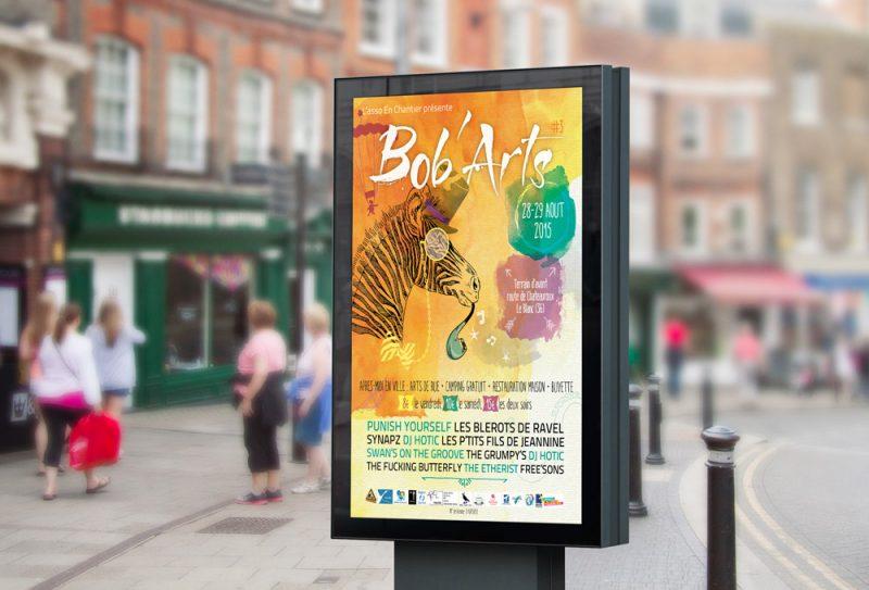 2015 - Affiche/fly/gobelet... pour le Festival Bob'Arts (Asso En chantier)
