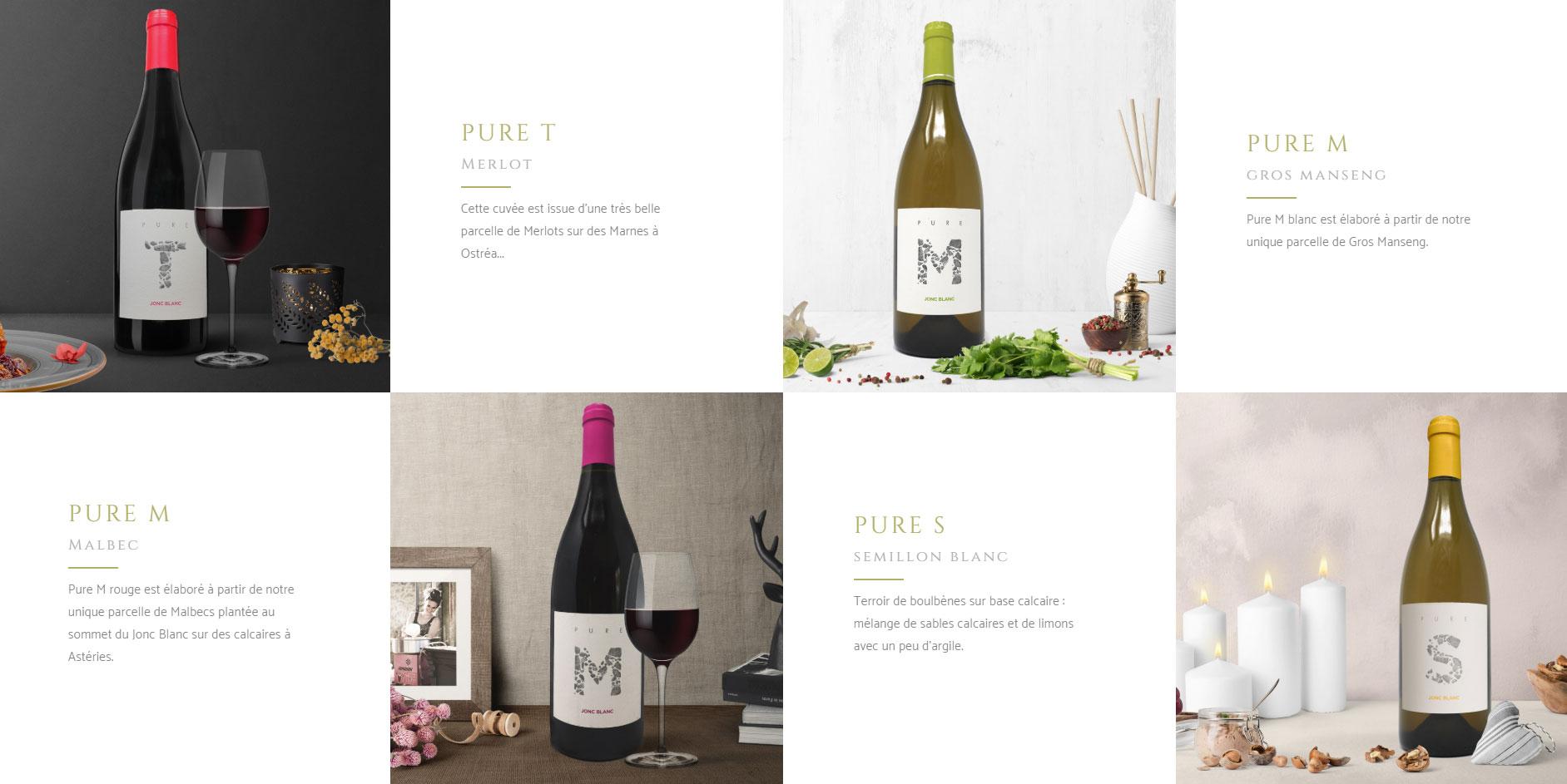 Présenattion des vins sur le sites internet en patchwork avec photo culinaires des vins ahaut de gamme de JONC BLANC