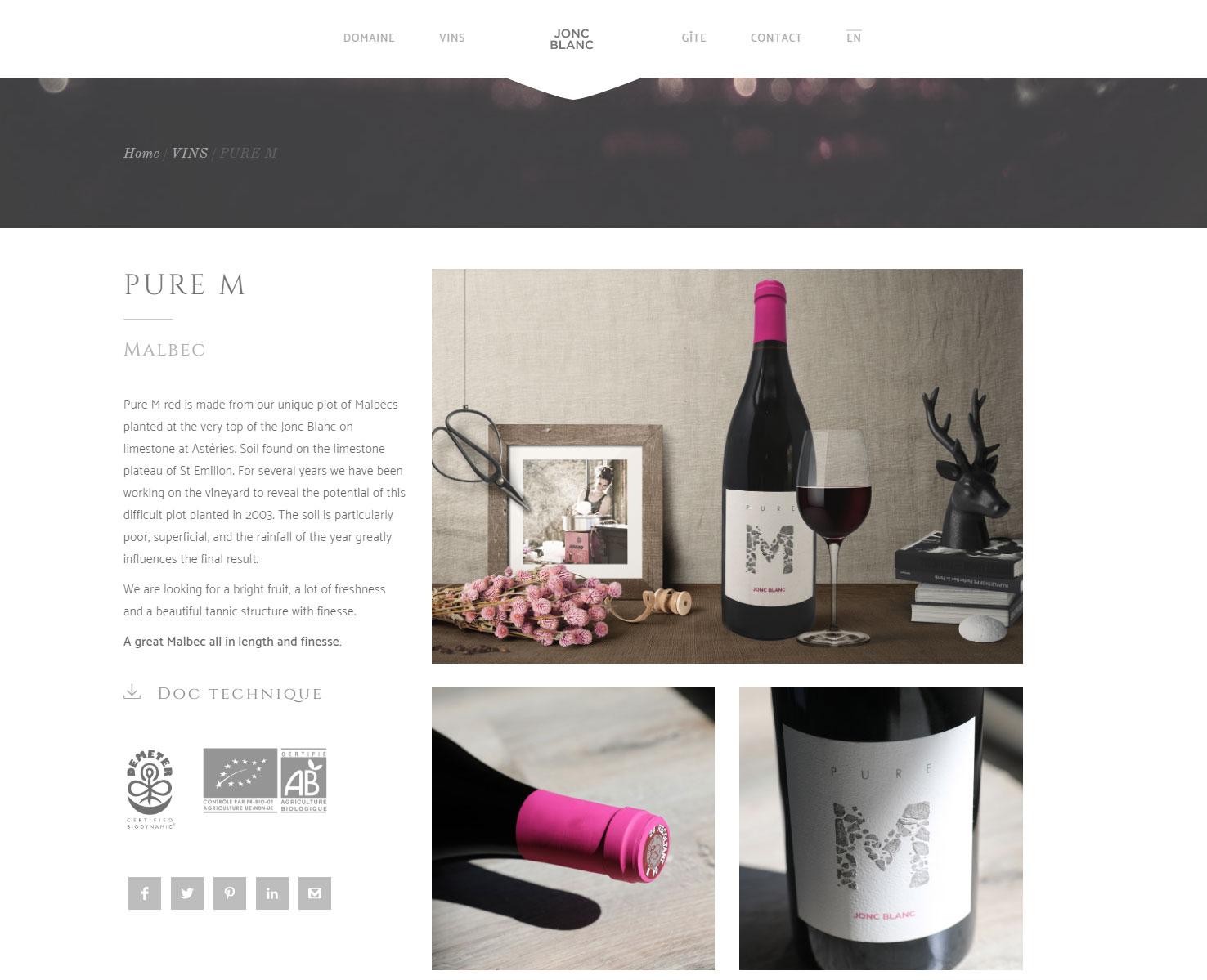 Page site internet sur un vin biologique. Photo et montage photographique culinaire. ambiance Couture, campagne, champêtre, moderne, détente