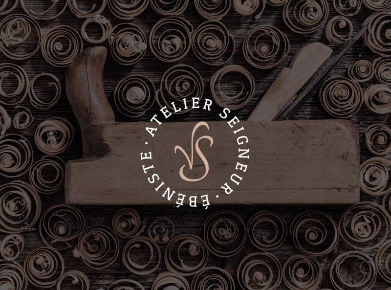 Creation logo ébéniste, travail du bois avec signature